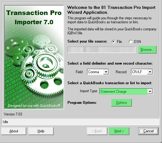 Import Statement Charges Into Quickbooks Using Transaction