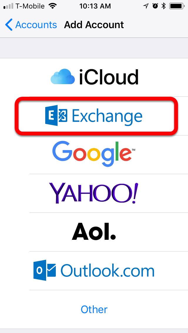 select exchange account