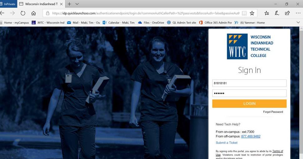 WITC login page