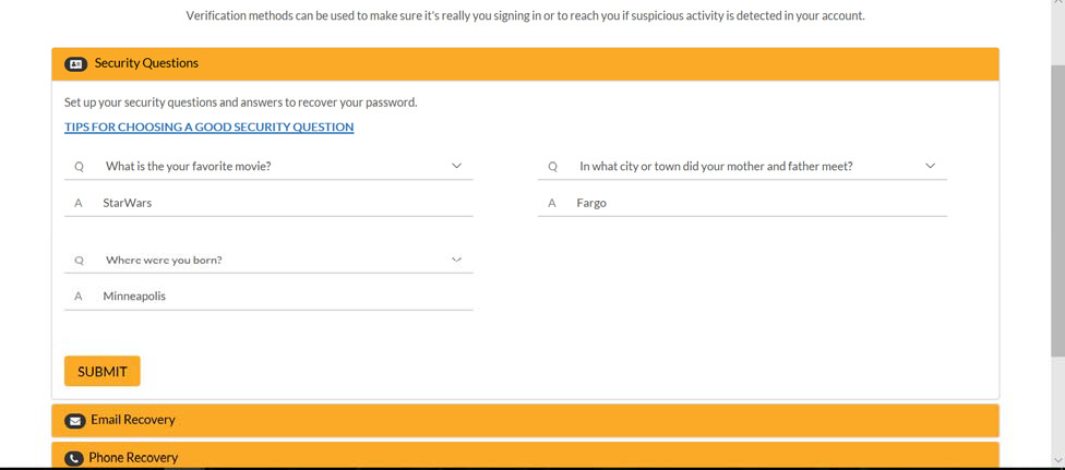 select your security questions and type in your answers