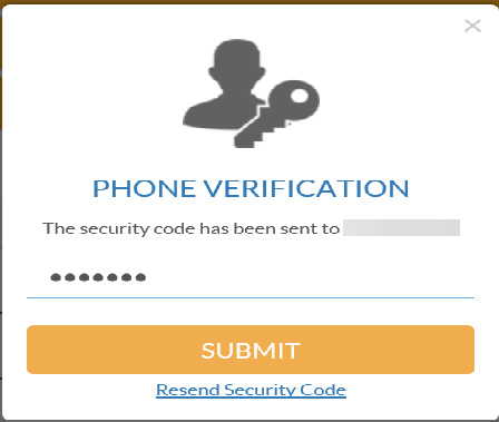enter texted code and click verify