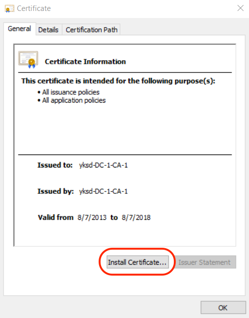 Yksd Ssl Certificate Manual Install In Windows 10 Yksd Support Center